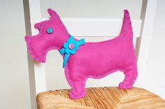 Pink Funky Felt Dog Sewing Kit by kittykaymakeandsew on Etsy