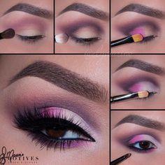 Make-up Pinsel Cartoon – Buntes Augen Make-up Tutorial; Augenfarbe und Make-up Sexy Eye Makeup, Eye Makeup Steps, Cute Makeup, Perfect Makeup, Gorgeous Makeup, Beauty Makeup, Makeup Looks, Hair Makeup, Pink And Black Eye Makeup