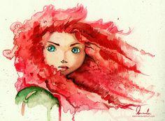 #Merida #Valiente acuarela dibujo #Disney princesas