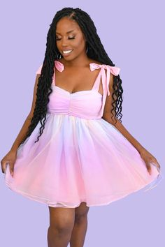 Our ultimate dream dress. You will float through any party, event, or even just your living room like a rainbow cupcake. This is a dress you'll want to cherish for a long time. Made of the softest high quality custom dyed pastel rainbow organza, with an added layer of rainbow tulle on top for extra poof! Part of our My Violet Dresses, Rainbow Cupcakes, Black Girl Magic, Dream Dress, Perfect Fit, Tulle, Photoshoot, My Style, Model