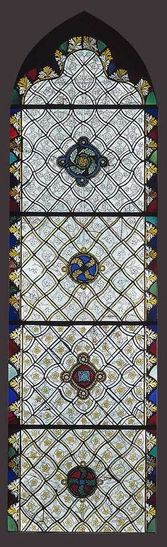 Stained-Glass Window, with Grisaille Decoration, ca. 1325  French; From the abbey church of Saint-Ouen, Rouen, France  Pot-metal and colorless glass, with silver stain and vitreous paint