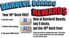 #DairdevilBoards #Rewards is now on! Buy 9 #skateboard_decks get the tenth on #FREE!