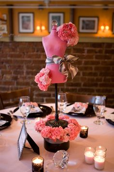 Since Jena has worked in the fashion industry in New York City for over 15 years, the centerpieces for her bridal shower were miniature dress forms decorated w… Chanel Party, Paris Birthday, Birthday Table, Dad Birthday, Fashion Themes, Fashion Ideas, Fashion Dresses, Shower Dresses, Paris Party