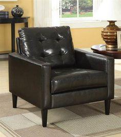 Balin Espresso PU Wood Cushion Back Accent Chair