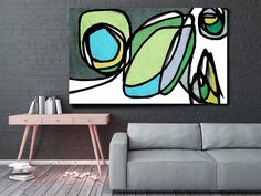 Vibrant Colorful Abstract-0-22. Mid-Century Modern Green Canvas Art Print, Mid Century Modern Canvas Art Print up to 72 by Irena Orlov