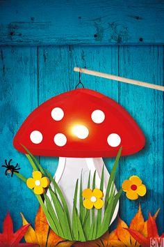 Dieser Fliegenpilz ist garantiert nicht giftig! So wird die Pilz-Laterne gebastelt. (© Christophorus Verlag)