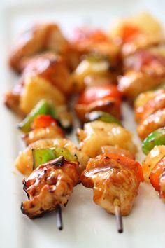 Hawaiian BBQ Chicken Kabobs Grilling Recipes, Cooking Recipes, Healthy Recipes, Beef Kabob Recipes, Rib Recipes, Bbq Chicken, Chicken Recipes, Chicken Skewers, Hawaiin Chicken Kabobs