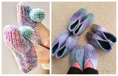 Easy Old Fashioned Slippers Free Knitting Patterns - Knitting Pattern Beginner Knitting Patterns, Easy Knitting, Knitting For Beginners, Knitting Socks, Knitting Machine, Crochet Patterns, Knit Slippers Free Pattern, Knitted Slippers, How To Start Knitting
