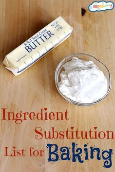 Ingredient Substitution List for Baking Finding alternate ingredients for food allergies or just for taste can sometimes be difficult. This MOM Tips for Ingredient Substitutions has all of your needs in one place! Sour Cream Substitute, Butter Substitute Baking, Substitute For Shortening, Non Dairy Sour Cream, Milk Substitute For Cooking, No Bake Desserts, Dessert Recipes, Non Dairy Desserts, Crockpot