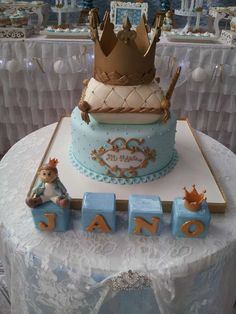 Royal cake at a blue and gold prince birthday party! See more party ideas at CatchMyParty.com!