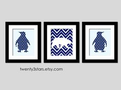 Penguins and Polar Bear Giclée Prints, You Choose the Patterns and Colors, Perfect Gift for a Nursery or Baby Shower. $42.00, via Etsy.