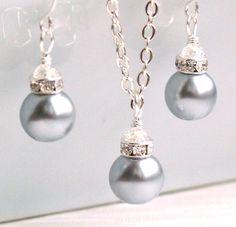 Silver Grey Bridesmaid jewelry set of light grey by LaurinWedding, $14.00