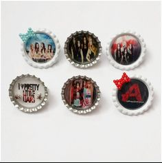 Check out this item in my Etsy shop https://www.etsy.com/listing/187415103/bottle-cap-pins-set-6-pretty-little
