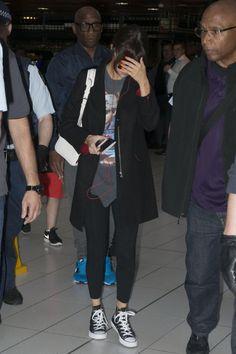 Selena Gomez wearing Converse Chuck Taylor All Star Core Hi Sneakers and Louis Vuitton Sofia Coppola Bag