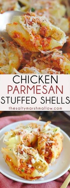 Chicken Parmesan Stuffed Shells - Delicious stuffed shell pasta filled with cheese and crispy chicken, topped with marinara sauce and more cheese! Chicken parmesan stuffed shells are an easy and…MoreMore Pasta Recipes, Chicken Recipes, Dinner Recipes, Cooking Recipes, Healthy Recipes, Recipes With Marinara Sauce And Chicken, Chicken Marinara, Parmesan Recipes, Healthy Meals