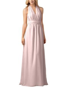 Wtoo by Watters Style 800 is a long, chiffon infinity bridesmaid dress with sweetheart neckline and shirred bodice. Wtoo 800 has 2 skirt panels in front and back allow for the dress to be worn with multiple necklines.