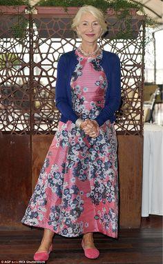 Flower power:Helen Mirren, 70, cut a glamorous figure when she stepped out in Rome on Fri...