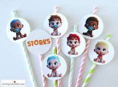 STORKS movie themed Baby Shower Party Ideas and how to make adorable Baby Pacifier Cupcakes. Free printables and diaper cake inspiration. LivingLocurto.com