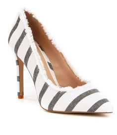 d4d17d79156 Gianni Bini Dawnatwo Fringed Fabric Striped Pointed-Toe Pumps