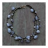 Chunky blue chalcedony necklace