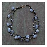Chunky blue chalcedony necklace