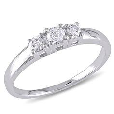 Miadora 14k White Gold 1/4ct TDW Diamond 3-Stone Promise Ring (G-H, I1-I2) (Size 7.5), Women's