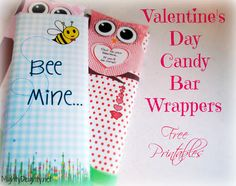 Here's an adorable and easy way to dress up your Valentine's Day treats. Mighty Delighty: Valentine's Day Candy Bar Wrappers {{Free Printable}}