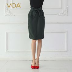 4cf160df3 Voa Heavy Silk Skirts Women Midi Skirt Large Size Army Green
