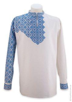 Біла лляна сорочка з повністю вишитим рукавом - Товари - Замовити чоловічі, жіночі та дитячі вишиванки в Україні - Укрбізнес