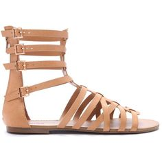 Forever 21 Women's  Caged Gladiator Sandals ($20) ❤ liked on Polyvore featuring shoes, sandals, flats, flat pumps, gladiator sandals, greek sandals, gladiator sandals shoes and caged flats