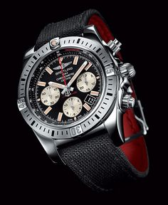Breitling Chronomat 44 Airborne SS Onyx blk dial Fabric strap 2014