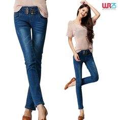Taobao korean double-breasted high waist pencil package hip slim thin jeans feet female wrzs-809 china english wholesale