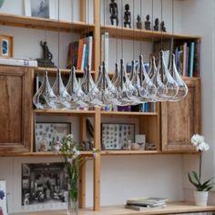 Suspension 16 verreries forme goutte en verre transparent longueur 100 cm Tears
