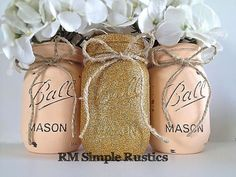 Etsy Super cute set of 3 pint sized mason jars, painted in a peachy/pink, and gold glitter. Distressed, and sealed to help protect against water