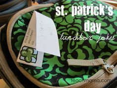 st. patty's day lunchbox joke notes = a little bit o' lunchtime love  #st. patrick's day #kids #weteach