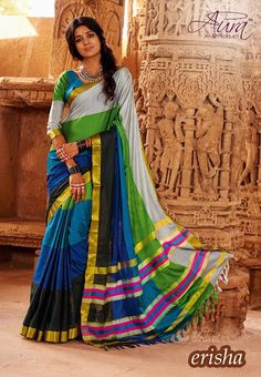 Online Shopping of Blue-Green Cotton Printed Party Wear Saree-Erisha from SareesBazaar, leading online ethnic clothing store offering latest collection of sarees, salwar suits, lehengas & kurtis Buy Designer Sarees Online, Designer Silk Sarees, Art Silk Sarees, Chiffon Saree, Cotton Saree, Cotton Silk, Velvet Saree, Mysore Silk Saree, Ethnic Sarees