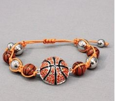 Simple yet Uber Cool Orange and Silvertone Disco Ball Type Bracelet with a Rhinestone Embellished Basketball and a cord tie