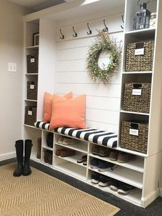 Mudroom Ideas - Repurposing a shelving device for a mudroom serves a double obje.,Mudroom Ideas - Repurposing a shelving device for a mudroom serves a double objective. The cubbies near the floor are excellent for saving footwear an. Mudroom Laundry Room, Mudroom In Closet, Shoe Rack Mudroom, Mud Room Lockers, Entry Lockers, Shoe Cubby, Entry Closet, Bathroom Closet, Laundry Room Design
