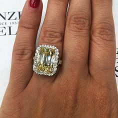 New Arrival: This engagement ring showcases one stunning GIA certified emerald cut fancy yellow diamond weighing 5.30 carats set in a halo of round brilliant white diamonds. Would surely brighten up anyone's day! ☀️ Email info@firenzejewels.com  Link in bio.  #SummertimeGlamour #diamonds #diamonddistrict #nyc #firenzejewels #sparkle #wow #ShowYourCouture #CoutureDailyDose #bejeweled #feeltheheat #fashion #jewelryoftheday #design #designerjewelry #Jewelry #love #jewelers #47thstreet…