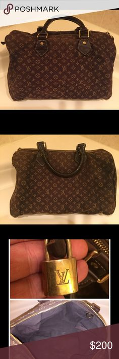 Louis Vuitton Speedy Bag Authentic Louis Vuitton Speedy Bag. Bought in 2007. Still have receipt. Bag is not leather.Made from a canvas material. Bag has lots of wear. Inside is stained. Four corners have heavy wear. See pictures.Comes with dust bag Louis Vuitton Bags