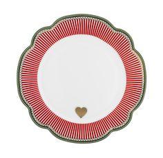 """Holiday"" Plate by Lisbeth Dahl Copenhagen Autumn/Winter 13. #LisbethDahlCph #Winter #Holiday #Reindeer #Red #Gold #Heart #Kitchen"