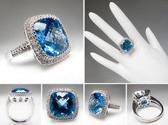 Blue Topaz & Diamond Halo Cocktail Ring Solid 14K White Gold - EraGem