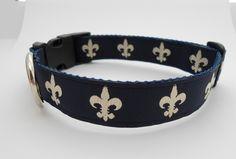Dog Collar Navy Fleur de lis