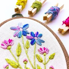 """How it's made: Hand embroidered with 100% hand dyed silk embroidery floss onto quality natural colored linen, set in a 3 x 5"""" plastic woodgrain flex hoop, and backed with felt. How it's unique: Each p More"""