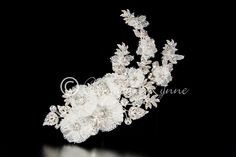 Lace Flower Bridal Hair Clip with Rhinestone Leaves