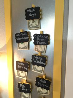 This chore board idea is pure genius. In order to encourage your kids to do extra chores, offer an incentive! Attach magnets to clothespins labeled with specific chores, and include a buck for each one. Chore Board, Diy Memo Board, Chore Chart Kids, Chore List For Kids, Family Chore Charts, Charts For Kids, Idee Diy, Diy Desk, Raising Kids