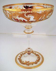 Antique Moser Enameled Crystal Glasses