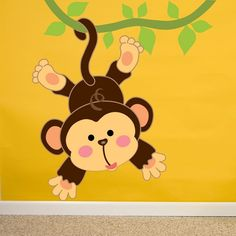 Full Color Little Monkey Animal Children Full Color Wall Decal Sticker Sticker Decal size inches x 48 inches), Multicolor Fall Mantel Decorations, Fall Decor, Wall Decal Sticker, Vinyl Decals, Pet Monkey, Popular Christmas Gifts, Little Monkeys, Wall Colors, Diy Painting