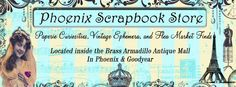 Phoenix Scrapbook Store  The Brass Armadillo  12419 N. 28th Dr.  Phoenix, AZ 85029  (602) 942-0030  NW of I-17/Cactus  Open 9am-9pm  7-days a week  The Brass Armadillo  13277 W. McDowell Rd.  Goodyear, AZ 85395  (623) 889-0290  SW of Dysart/McDowell  Open 9am-9pm  7-days a week