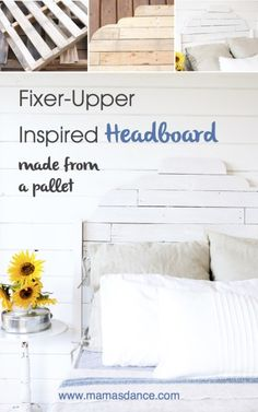 """Full Tutorial for a """"Fixer Upper"""" Inspired Headboard made from Pallet Wood via Ashlea This Mamas Dance"""